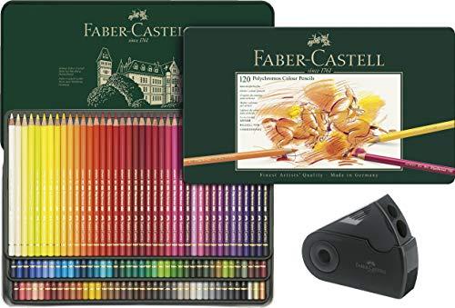 Faber-Castell - 120 crayons Polychromos - boîte métal de 120 crayons de couleur et taille-crayon