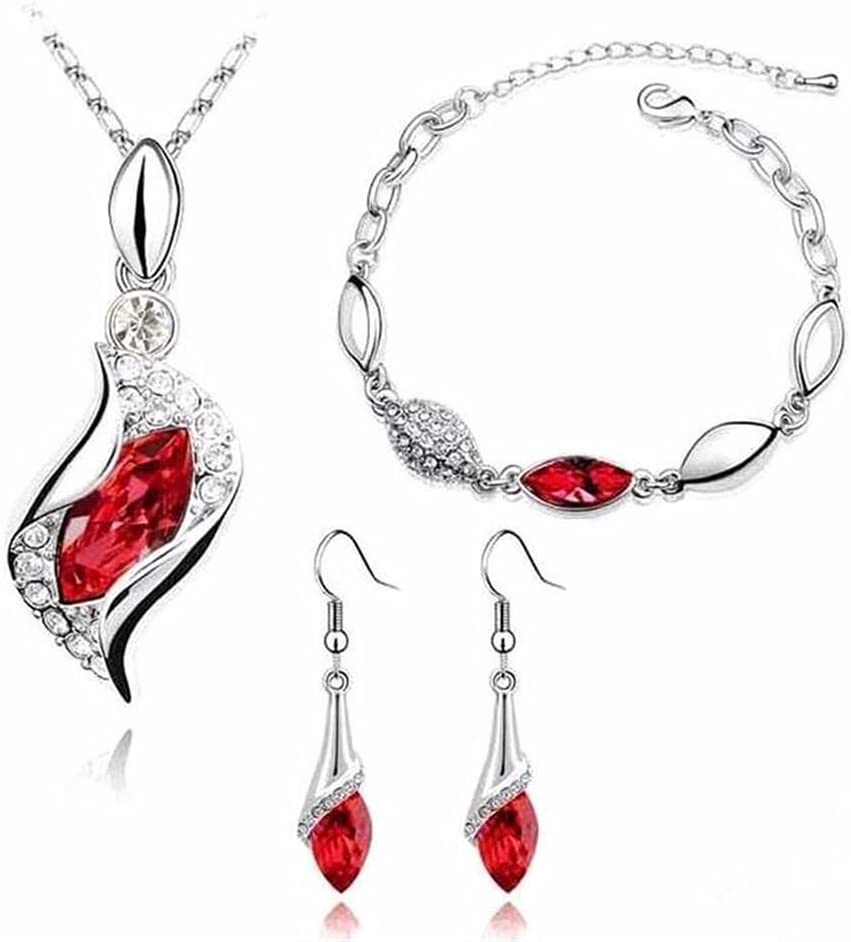 XYXK Women's Party Jewelry Set Earrings Pendant Necklace Bracelet Dangle Earrings for Wedding Bridesmaids (Metal Color : F905)