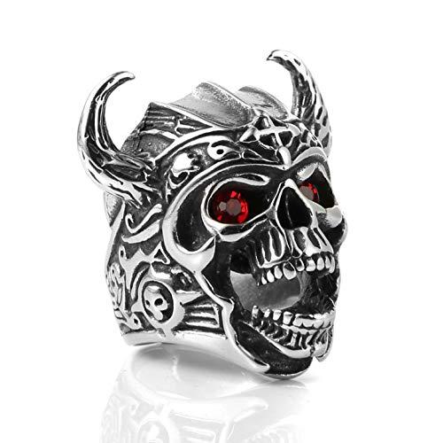HZMAN Men's Stainless Steel Ruby Eyes Skull Cross Ring Knights Templar Helmet Warrior Ring