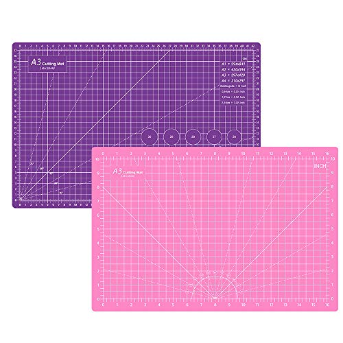 Headley Tools 12 x 18 Inch Self Healing Cutting Mat, Durable Rotary Cutting Mat Double Sided 5-Ply Gridded A3 Cutting Board for Craft, Fabric, Quilting, Sewing, Scrapbooking Project, Pink Dark purple