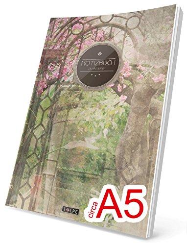 """TULPE Punktraster Notizbuch: Ca. A5 """"C088 Garten Eden"""" (Vintage Softcover, Register, Punktpapier - Bullet Journal, Kalligraphie Übungsheft, Skizzenbuch, Gepunktete Seiten, Dotted Grid Journal)"""