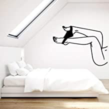 JiuJiu.Yan Woman Vinyl Wall Decal Hot Naked Girl Beautiful Legs Wall Home Bedroom Living Room Stickers Art Mural58x42cm