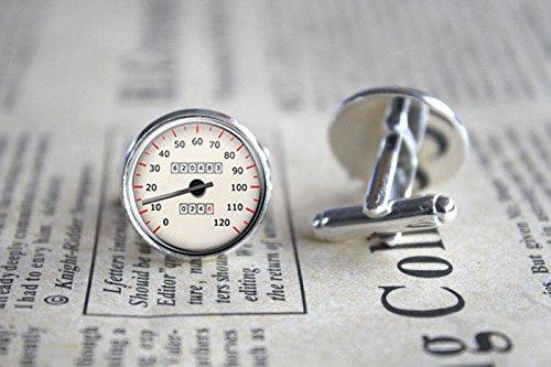 Vintage Speedometer Photo Glass Cuff Links-Silver Car Speedometer Cufflinks for Men Women-Handmade Boyfriend Christmas Gift