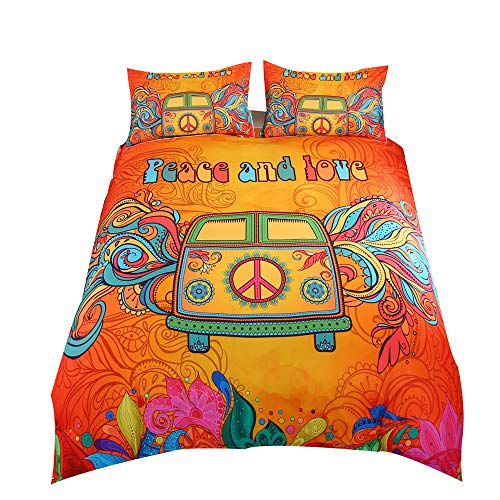 Suncloris,Hippie Psychedelic Camper Van Peace Sign,Bedding Boys Girls Watercolor Colorful Art Duvet Cover Set.Included:1 Duvet Cover,1 Pillowcase(no Comforter Inside) (Twin)