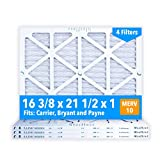 Glasfloss 16-3/8 x 21-1/2 x 1 Air Filters (Case of 4), MERV 10, Pleated, Made in USA - Fits Listed Models of Carrier, Bryant & Payne