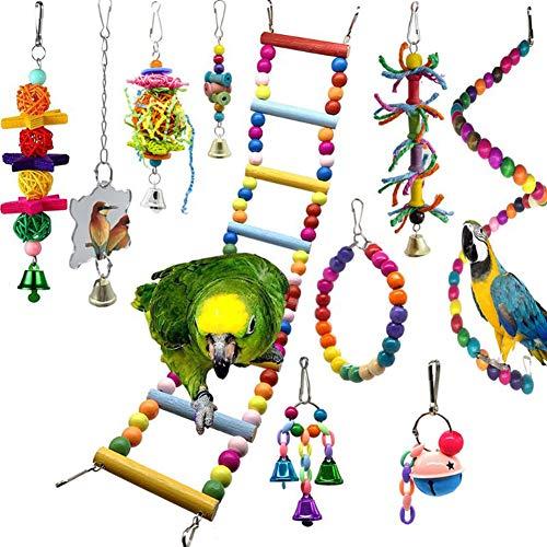 10Pcs Giochi per Uccelli Pappagalli,Giocattoli per altalene per uccelli Giocattoli da masticare Pappagalli Giocattolo da Masticare per uccelli Giocattoli da masticare per uccelli innamorati,pappagalli