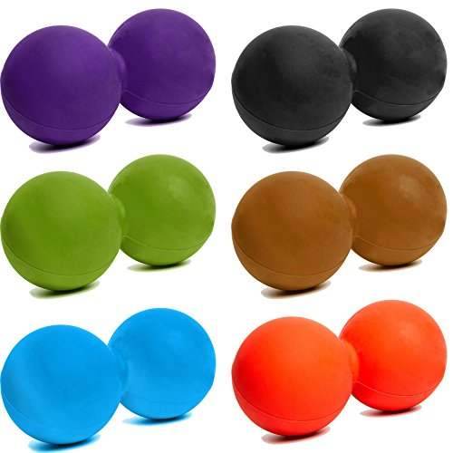 Preisvergleich Produktbild Double Faszienball / Massageball - ca 8cm Durchmesser aus Silikon / Einsatz zur Selbstmassage,  Faszientraining & Muskelentspannung - Harte Oberfläche / Rückentraining Peanut Ball »Globo« lila