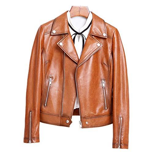 HUIGE Moto Lederjacke Damen Asymmetrisch Reißverschluss Langarm Taschen Casual Motorrad Kurz Lammfell Biker Mäntel Mode Mädchen Slim Kleidung, Gelb, XXL