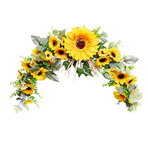 Sonnenblumenkranz Türkranz mit Blumen, 20 inch Deko Wandkranz für DIY Kranz Decor Hochzeitskranz Dekor und Wandbehang Handwerk