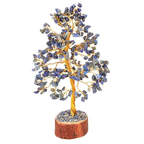 Crocon Lapis Lazuli Gemstone Money Tree Feng Shui Bonsai for Good Luck Chakra Stone Balancing Mystical Reiki Healing Spiritual Home Interior Office Decor Size: 10 Inch