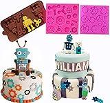 JeVenis Set mit 3 Roboter-Formen für Kuchendekoration, Kuchen, Rad, Gears, Formen für Jungen...