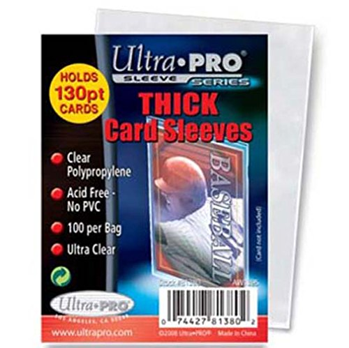 5 Ultra Pro Thick Card Sleeve Packs (100 Soft Card Sleeves Per Pack - 500 Total) - For Storing Thick Cards Like Memorabilia or Wardrobe (Baseball, Football, Basketball, Hockey, Entertainment)