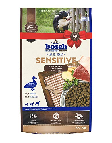 bosch Tiernahrung bosch HPC Sensitive Ente & Kartoffel, Hundetrockenfutter für ernährungssensible Hunde aller Rassen, 3 kg
