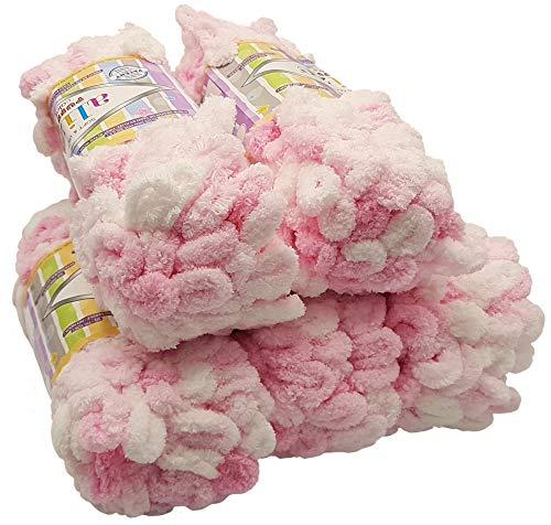 Alize Puffy Color 5 x 100 Gramm Strickwolle, 500 Gramm Fingerstrick - Wolle Mehrfarbig super Bulky, Schlaufenwolle, Stricken ohne Nadel (weiß rosa 5863)