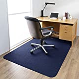 ETE ETMATE 140cm*90cm Office Chair Mat for Hardwood,1/6' Thick Office Chair Mat, 100% polyester fiber Hard-Floor Protector Mat for Office/Home(Indigo)