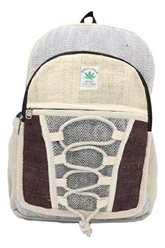 HIMALAYAN Hanf Rucksack, Hanf Tagesrucksack/Daypack für Schule, Reise, Freizeit, Outdoor, Natur – mit Laptopfach, handgemacht in Nepal – model 148
