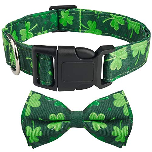 Dog Bow Tie, HAOPINSH Bowtie Dog Collar St. Patrick's Day Dog Bow Tie, Adjustable Four Leaf Clover Dog Collars, Holiday Collars for Large Medium Small Dogs Pets Soft Durable Comfortable Medium