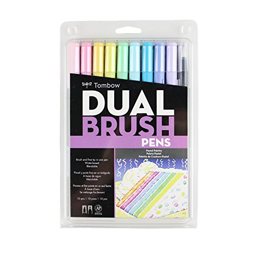 Tombow 56187 Dual Brush Pen Art Markers, Pastel, 10-Pack. Blendable, Brush and Fine Tip Markers