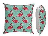 Preis am Stiel  Blaues Kissen ''Flamingos'' mit Reißverschluss   Sofakissen   Zierkissen  ...