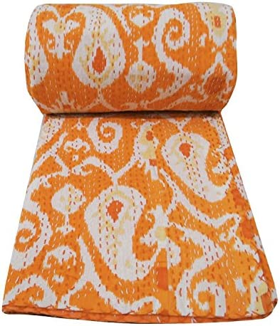 Traditional Indian Throw Ikat Print Vintage Gudri Handmade Kantha Quilt Indian Vintage Bohemian product image