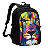 asfg Resistente a Las Manchas Lion Multifunctional Personalized Customized USB Backpack, Student School Outdoor Backpack,Travel Bag Laptop Bookbags Business Daypack.