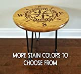 Compass End Table Nautical Beach Night Stand Hand Burned Wood Industrial Rustic Country Farmhouse Anchor Traditional Modern Contemporary Home Decor Living Room Bedroom Assembly Required Indoor Only