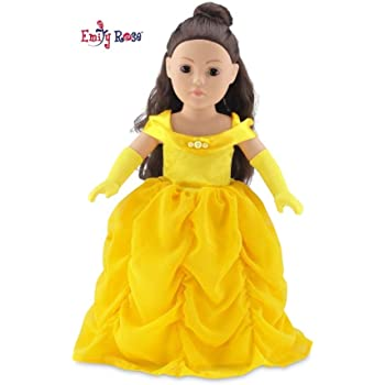 "Emily Rose 18 Inch Doll Gorgeous Princess Belle-Inspired Ball Gown Doll Outfit with Matching Gloves | Fits 18"" American Girl Dolls and Many More! 