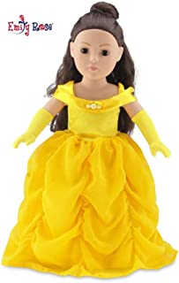 Emily Rose 18 Inch Doll Clothes for American Girl Dolls | Gorgeous Princess Belle-Inspired Ball Gown Doll Outfit with Matching Gloves | Fits 18