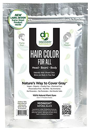 Hair Color For All Natural Hair Dye For Men & Women I 100% Natural & Chemical-Free Pure Hair & Beard Color, Midnight Natural Black