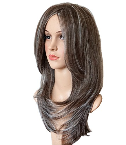 wigbuy Long Layered Natural Straight Synthetic Hair Fiber Mix color Highlight Multicolor for Women (4/18H600)