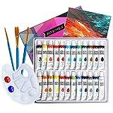 Conjunto de Prima Caja de Pintura Acrílica Niños Pintura Impermeable para Bricolaje Acuarela no TóxicaMural de Pared Pintado a Mano 24 Colores Alta Cobertura y de Secado Rápido