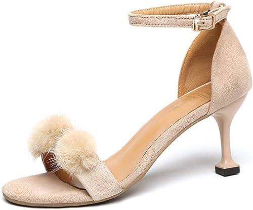Sandales, Stiletto Stiletto Stiletto Polyvalent, Bout Ouvert, Boucle de Mot, Sandales Boule de fourrure-beige-36 d40