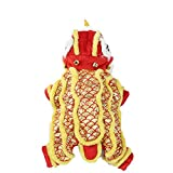 DELIFUR Dog Dance Lion Costume with Yellow Sequins New Year Pet Costume Four Legs Hoodies for Small Meduim Large Dogs (Small)