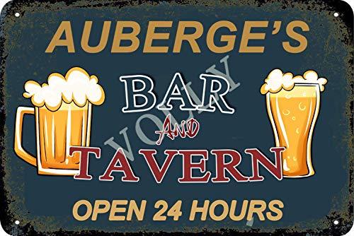 Vvision Auberge'S Bar and Tavern Open 24 Hours Signe d'étain Affiche en métal Panneau d'avertissement rétro Plaque de Fer Plaque Affiche Vintage Chambre Mur de la Maison en Aluminium Art décoration