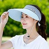 CZWYF Sombreros de Sol para Mujer Sombrero para Sol, Sombrero de Playa para Mujer, con Doble Sombrero de Visera de ala Ancha, Protección Solar UV de Verano con Correa de Barbilla (Color : Blue)