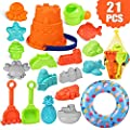 AstarX Kids Sand Toys,21 Pieces Beach Toys Set in Reusable Mesh Bag with Swimming Ring Matching Macaron