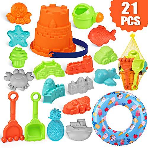 balnore 20 Piezas Juguetes de Nieve, Juguetes de Playa para niños, Juego de Juguetes de Playa y Arena para niños con moldes de Bucket Castle y Bolsa de Malla Material plastico Blando