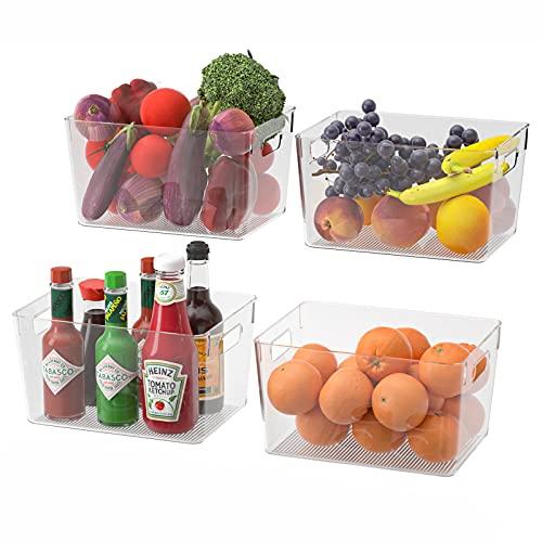 Juego de 4 Caja de Almacenamiento Transparentes para Refrigerador, Cocina, Despensa, Armarios y Estantes, 28,5 x 20,3 x 15,2 cm, Nevera Contenedores Organizadores Grandes Reutilizables con Asas