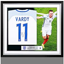 Jamie Vardy Official England Back Autographed Signed Signed and Framed 2016-17 Home Shirt - Certified Authentic