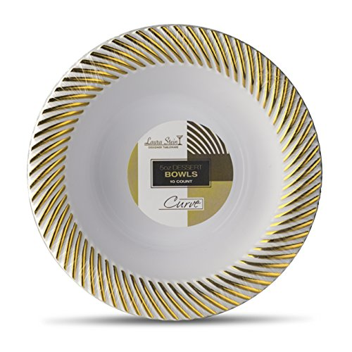 [10 Count - 5 Oz Bowls] Laura Stein Designer Tableware Premium Heavyweight Plastic White Dessert Bowl With Gold Designed Border, Party & Wedding Plate Curve Series Disposable Dishes