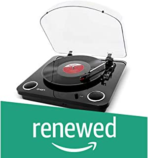 ION Audio Max LP Black  Three Speed Vinyl Conversion Turntable with Stereo Speakers, USB Output to Convert Vinyl Records to Digital Files and Standard RCA & Headphone Outputs (Renewed)