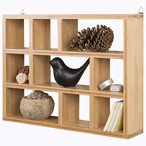 MyGift 9-Compartment Natural Beige Bamboo Wall Mounted/Freestanding Shadow Box Display Shelf