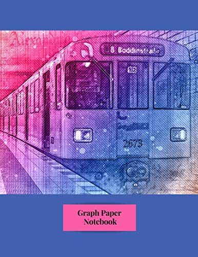 Graph Paper Notebook: Colorful Subway Metro Train Transportation City Themed Notebook - 5 x 5 Graph Paper - 120 Pages (60 Sheets) - 8.5