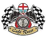 Retro Cafe Racer Ton Up Motero Diseño con Cruz de San Jorge Inglaterra Bandera para Inglés Moto Vinilo Coche Moto Casco Adhesivo Pegatina 90x65mm