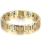JewelryWe 大切な人や,彼氏・彼女へのプレゼント:メンズ ブレスレット, クラシック リンク, パワーストーン 磁気,セラミック,カラー:ゴールド(金);[ギフトバッグを提供]