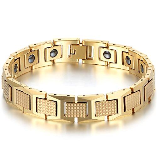 JewelryWe Schmuck Herren Magnet Armband, Kariert Rechteck I Link Magnetarmband Armreif, Wolfram Wolframcarbid, Gold