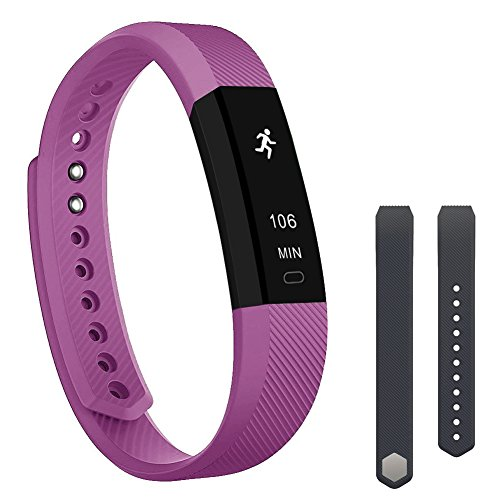 Teslasz Fitness Tracker, ID115 Sleep Monitor Calorie Counter Pedometer Sport Activity Tracker with Free Replacement Straps for Android and iOS Smart Phone (Purple)