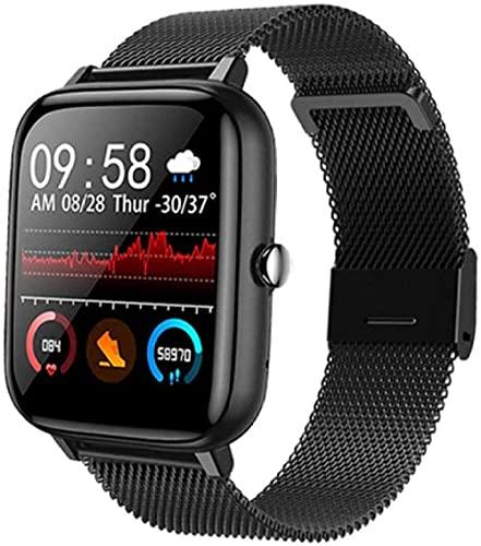 Reloj inteligente Reloj Inteligente Presión Arterial Ritmo Cardíaco Fitness Tracker Sport Smartwatch Reloj Mujeres Hombres Reloj Inteligente Para Android IOS Xiaomi-Blcak Acero