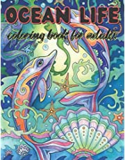 ocean life coloring book for adults: Ocean Life Adult Coloring Book with 45+ Unique Designs