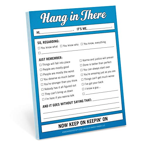 Knock Knock Hang in There Nifty Note, Checklist Memo Pad, 4 x 5.25-inches